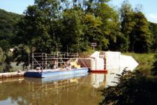 Travaux de rénovation de mur d'écluse et de barrage